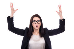 Portrait of stressed business woman screaming isolated on white Stock Image