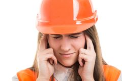Portrait of stressed female worker feeling sick Royalty Free Stock Photos