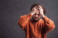 Portrait of Stressed Man royalty free stock photography