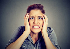 Portrait stressed out young woman royalty free stock image