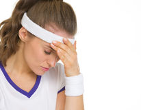 Portrait of stressed tennis player Royalty Free Stock Image