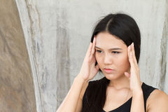 Portrait of stressed woman with a headache, stress, migraine Royalty Free Stock Images