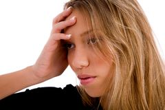 Portrait of stressed young woman Royalty Free Stock Image