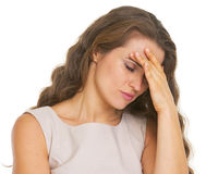 Portrait of stressed young woman Stock Photo