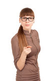 Portrait of a strict woman in glasses Royalty Free Stock Images