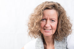 Portrait strong, angry woman. Dangerous look stock photography