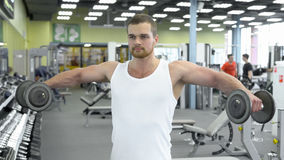 Portrait of strong athletic man at the gym training. bodybuilder does an exercise for shoulders with dumbbells Royalty Free Stock Photography