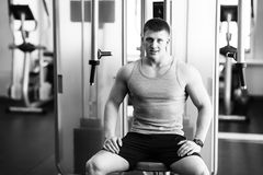 Portrait of a strong fit man in gym. Portrait of a strong fit young man exercising in a gym. Confident man looks ahead Stock Images