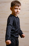 Portrait of Strong Male Kid in Black Attire Royalty Free Stock Photography
