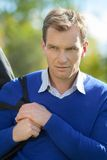 Portrait of strong man. Outdoor shot Royalty Free Stock Photos