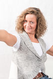 Portrait strong, smiling woman with open arms Royalty Free Stock Images