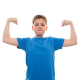 Portrait strong teenage boy. Isolated on white royalty free stock images