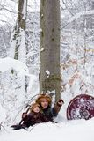 Portrait strong viking warrior winter woods battle scandinavian traditional clothing lumberjack chain mail leather spear deep fore. Father and son Vikings in a Royalty Free Stock Image