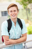 Portrait of student. Portrait young male student outdoors Stock Photo