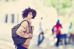 Portrait of student with backpack Royalty Free Stock Photography