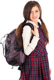 Portrait of student with  backpack isolated on white background Stock Photography