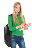 Portrait of student girl with backpack Royalty Free Stock Photo