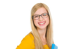 Portrait of student girl in glasses with book Royalty Free Stock Photography
