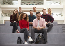 Portrait Of Student Group On Steps Of Campus Building Royalty Free Stock Images