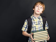 Portrait student with heap of books in hands Royalty Free Stock Photography