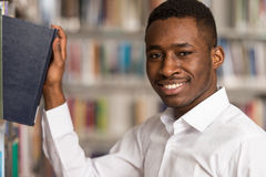 Portrait Of A Student In A Library stock photography