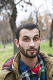 Portrait of a student/man in a park Stock Photos