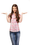 Portrait of a student present something Royalty Free Stock Photography