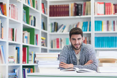 Portrait of student while reading book  in school library Royalty Free Stock Photography