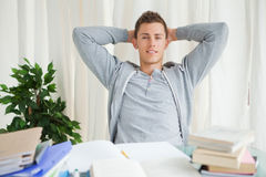 Portrait of a student stretching Royalty Free Stock Photos