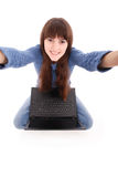 Portrait of student teenage girl with laptop Royalty Free Stock Image