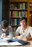 Portrait of students working on an essay. In a library Royalty Free Stock Images