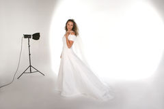 Portrait Studio With Bride on the Set Stock Images
