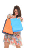 Portrait of stunning young woman carrying shopping bags Royalty Free Stock Photo