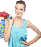 Portrait of stunning young woman carrying shopping bags Stock Image