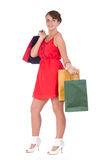 Portrait of stunning young woman with shopping bag Royalty Free Stock Photo