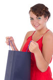 Portrait of stunning young woman with shopping bag Royalty Free Stock Photos