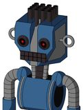 Blue Robot With Mechanical Head And Keyboard Mouth And Black Glowing Red Eyes And Pipe Hair. Portrait style Blue Robot With Mechanical Head And Keyboard Mouth stock illustration