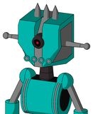 Greenish Robot With Mechanical Head And Pipes Mouth And Black Cyclops Eye And Three Spiked. Portrait style Greenish Robot With Mechanical Head And Pipes Mouth stock illustration