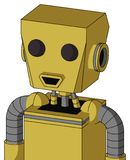 Yellow Droid With Box Head And Happy Mouth And Two Eyes. Portrait style Yellow Droid With Box Head And Happy Mouth And Two Eyes vector illustration