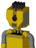 Yellow Droid With Mechanical Head And Speakers Mouth And Black Cyclops Eye And Pipe Hair. Portrait style Yellow Droid With Mechanical Head And Speakers Mouth And vector illustration