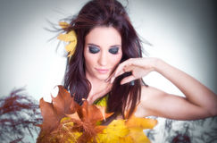 Portrait of a styled professional model. Autumn fashion royalty free stock photos