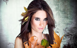 Portrait of a styled professional model. Autumn fashion stock photo