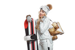 Portrait of a styled professional model with snowboard. Stock Image