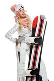 Portrait of a styled professional model with snowboard. Stock Photography