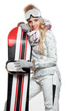 Portrait of a styled professional model with snowboard. Royalty Free Stock Photos