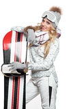 Portrait of a styled professional model with snowboard. Stock Photos
