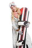 Portrait of a styled professional model with snowboard. Royalty Free Stock Photo