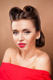 Portrait of Styled Woman. With brunette Hair Style and red lips stock image