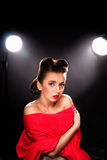 Portrait of Styled Woman. With brunette Hair Style and red lips royalty free stock photo