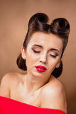 Portrait of Styled Woman. With brunette Hair Style and red lips royalty free stock photos